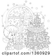 Clipart Of A Cartoon Black And White Santa Claus Peeking In A Window Watching A Boy Smile At A Gift By A Christmas Tree Royalty Free Vector Illustration