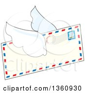 Clipart Of A Cartoon Winged Airmail Envelope Flying Royalty Free Vector Illustration