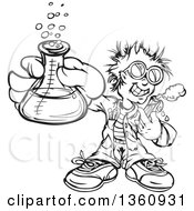 Clipart Of A Happy Black And White Lineart Scientist Boy Holding A Flask And Test Tube Royalty Free Vector Illustration
