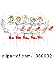 Cartoon Chorus Line Of White Turkeys Wearing Heels And Dancing The Can Can