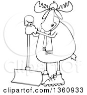 Clipart Of A Cartoon Black And White Moose Wearing A Hat And Scarf And Standing With A Snow Shovel Royalty Free Vector Illustration