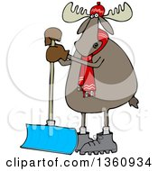 Clipart Of A Cartoon Moose Wearing A Hat And Scarf And Standing With A Snow Shovel Royalty Free Vector Illustration