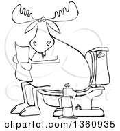Clipart Of A Cartoon Black And White Moose Reading A Newspaper On A Toilet Royalty Free Vector Illustration by djart