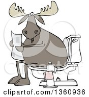 Clipart Of A Cartoon Moose Reading A Newspaper On A Toilet Royalty Free Vector Illustration