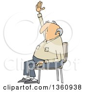 Clipart Of A Cartoon Nearly Bald White Man Sitting In A Chair And Raising His Hand To Ask A Question Royalty Free Vector Illustration