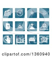 Clipart Of Blue And White Rounded Corner Square Christian Icons Royalty Free Vector Illustration by AtStockIllustration