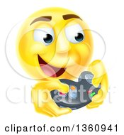 Clipart Of A 3d Yellow Male Smiley Emoji Emoticon Face Playing A Video Game Royalty Free Vector Illustration by AtStockIllustration