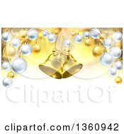 Clipart Of 3d Golden Christmas Bells Suspended Over A Background With Baubles Royalty Free Vector Illustration by AtStockIllustration