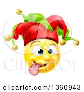 Clipart Of A 3d Yellow Male Smiley Emoji Emoticon Face Court Jester Making A Funny Face Royalty Free Vector Illustration by AtStockIllustration