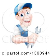 Clipart Of A Happy Middle Aged Brunette Caucasian Mechanic Man In Blue Wearing A Baseball Cap Holding A Wrench Around A Sign Royalty Free Vector Illustration