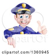 Clipart Of A Cartoon Happy Caucasian Male Police Officer Giving A Thumb Up And Pointing Down Over A Sign Royalty Free Vector Illustration by AtStockIllustration