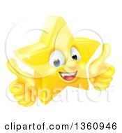 Clipart Of A 3d Happy Golden Star Emoji Emoticon Character Giving Two Thumbs Up Royalty Free Vector Illustration by AtStockIllustration
