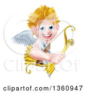 Clipart Of A Happy Blond Caucasian Valentines Day Cupid Holding A Gold Heart Arrow And His Bow Around A Sign Royalty Free Vector Illustration by AtStockIllustration