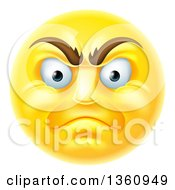 Clipart Of A 3d Angry Yellow Male Smiley Emoji Emoticon Face Royalty Free Vector Illustration