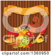 Autumn Harvest Cornucopia With Wheat Fruits And Vegetables Over Brown Stripes With A Blank Ribbon Banner