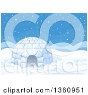 Clipart Of An Igloo Of Ice On A Snowy Day Royalty Free Vector Illustration