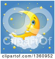 Cartoon Happy Crescent Moon Resting On A Cloud Over A Sky Of Stars