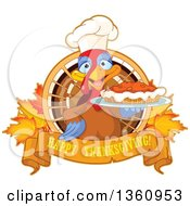Chef Turkey Bird Holding A Pumpkin Pie Over A Happy Thanksgiving Banner Over Leaves