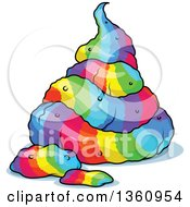 Clipart Of A Pile Of Rainbow Colored Unicorn Poop Royalty Free Vector Illustration