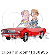 Clipart Of A Cartoon Caucasian Man Drooling And Driving A Red Convertible 64 Ford Mustang With A Beach Babe In The Passenger Seat Royalty Free Vector Illustration by LaffToon