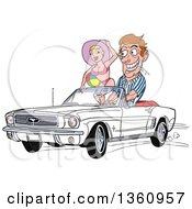 Clipart Of A Cartoon Caucasian Man Drooling And Driving A White Convertible 64 Ford Mustang With A Beach Babe In The Passenger Seat Royalty Free Vector Illustration by LaffToon