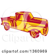 Clipart Of A Retro Woodcut Yellow And Red Vintage Pickup Truck Royalty Free Vector Illustration