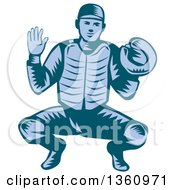 Poster, Art Print Of Retro Woodcut Blue Baseball Catcher In A Squat Position