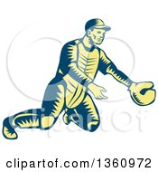 Retro Woodcut Blue And Yellow Baseball Catcher In Action