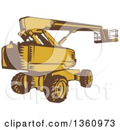 Clipart Of A Retro Brown And Yellow Woodcut Cherry Picker Mobile Lift Platform Machine Royalty Free Vector Illustration
