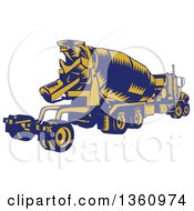 Retro Yellow And Blue Woodcut Cement Truck Rear View