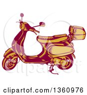 Clipart Of A Retro Yellow And Red Woodcut Vintage Scooter Royalty Free Vector Illustration