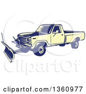 Clipart Of A Retro Yellow And Blue Woodcut Snow Plow Truck Royalty Free Vector Illustration