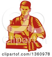 Clipart Of A Retro Red And Yellow Woodcut Male Tailor Operating A Sewing Machine Royalty Free Vector Illustration