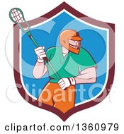 Retro Cartoon White Male Lacrosse Player With A Stick In A Maroon White And Blue Shield