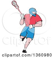 Cartoon White Male Lacrosse Player With A Stick