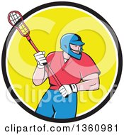 Cartoon White Male Lacrosse Player With A Stick In A Black White And Yellow Circle