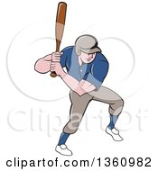 Clipart Of A Cartoon White Male Baseball Player Athlete Batting Royalty Free Vector Illustration by patrimonio