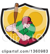 Poster, Art Print Of Cartoon White Male Baseball Player Athlete Batting In A Black White And Yellow Shield