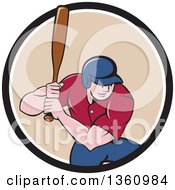 Poster, Art Print Of Cartoon White Male Baseball Player Athlete Batting In A Black White And Beige Circle