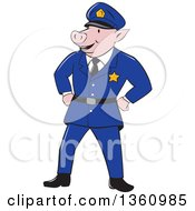 Clipart Of A Cartoon Police Officer Pig Standing With His Hands On His Hips Royalty Free Vector Illustration by patrimonio