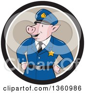 Clipart Of A Cartoon Police Officer Pig With His Hands On His Hips In A Black Taupe And White Circle Royalty Free Vector Illustration