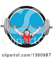 Clipart Of A Retro Cartoon White Strongman Bodybuilder Lifting A Barbell Over His Head And Doing Squats Emerging From A Black White And Blue Circle Royalty Free Vector Illustration