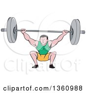 Clipart Of A Retro Cartoon White Strongman Bodybuilder Lifting A Barbell Over His Head And Doing Squats Royalty Free Vector Illustration