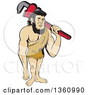 Cartoon Neanderthal Caveman Plumber Holding A Monkey Wrench Over His Shoulder