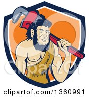 Clipart Of A Cartoon Neanderthal Caveman Plumber Holding A Monkey Wrench Over His Shoulder In A Blue White And Orange Royalty Free Vector Illustration