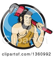Cartoon Neanderthal Caveman Plumber Holding A Monkey Wrench Over His Shoulder In A Blue And White Circle