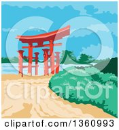Clipart Of A Retro Wpa Styled Tori Japanese Gate Royalty Free Vector Illustration