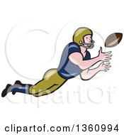 Clipart Of A Cartoon White Male American Football Girdiron Player Catching A Football Royalty Free Vector Illustration by patrimonio