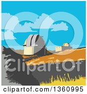 Clipart Of A Retro Wpa Styled Scene Of The University Of Canterbury Mt John Observatory Lake Tekapo New Zealand Royalty Free Vector Illustration