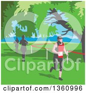 Clipart Of Retro Wpa Styled Marathon Runners Under Trees Royalty Free Vector Illustration